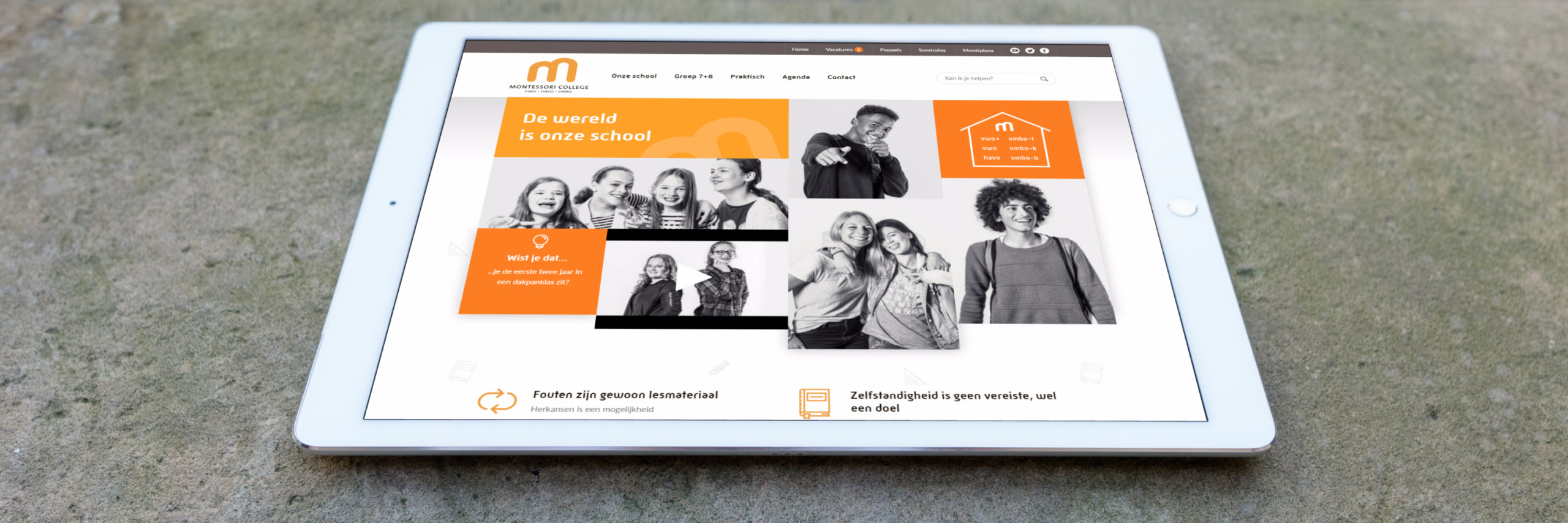 Banner for Montessoricollege.nl: een website voor jong en oud