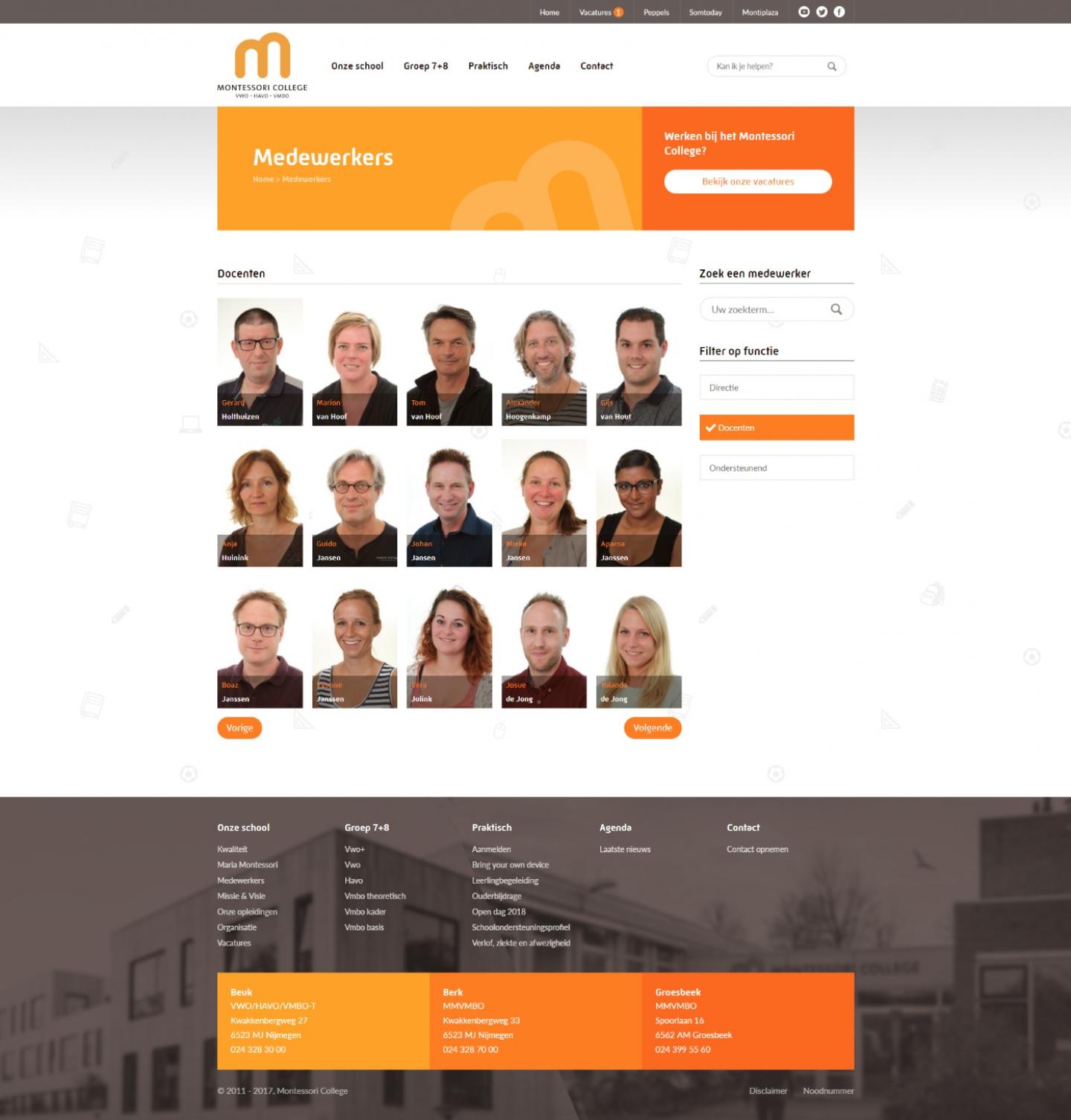 Preview van Montessoricollege.nl: een website voor jong en oud