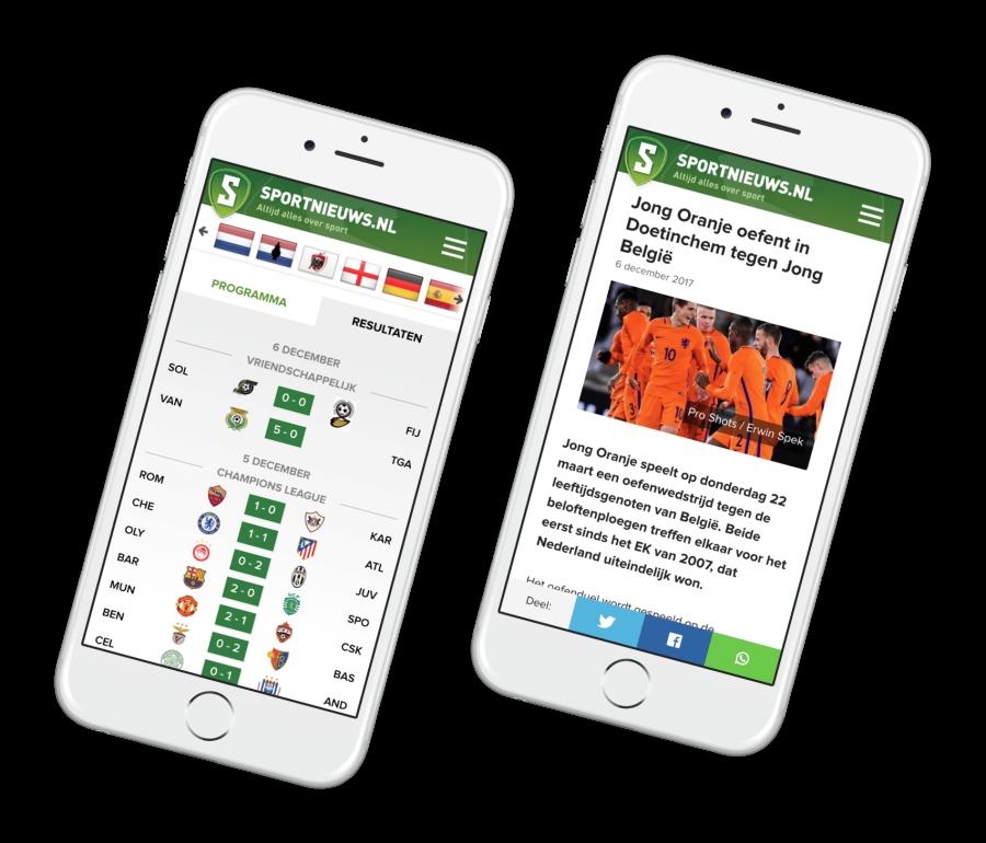 Preview van Een hogere conversie met een mobile-first website voor Sportnieuws