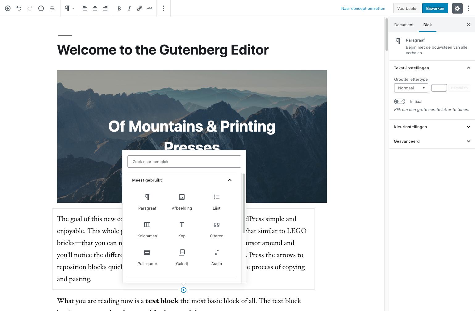 Gutenberg Block Editor in WordPress 5