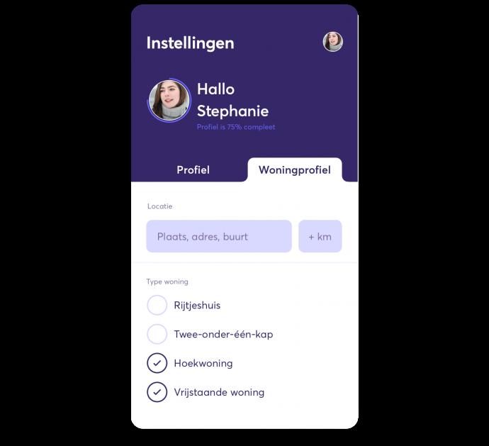 Preview van Match met je perfecte woning via de Settle-app