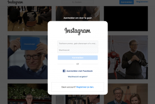 Een screenshot van Instagram met een blokkade waarbij je verplicht moet inloggen.