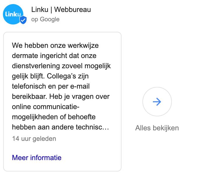 Google Mijn Bedrijf post