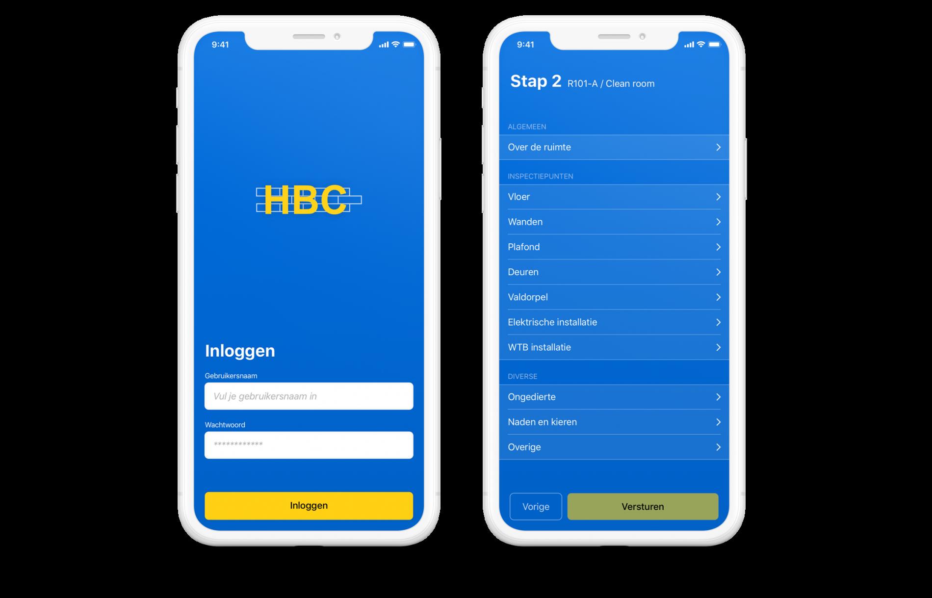 screenshots van de hbc react native inspectie-app