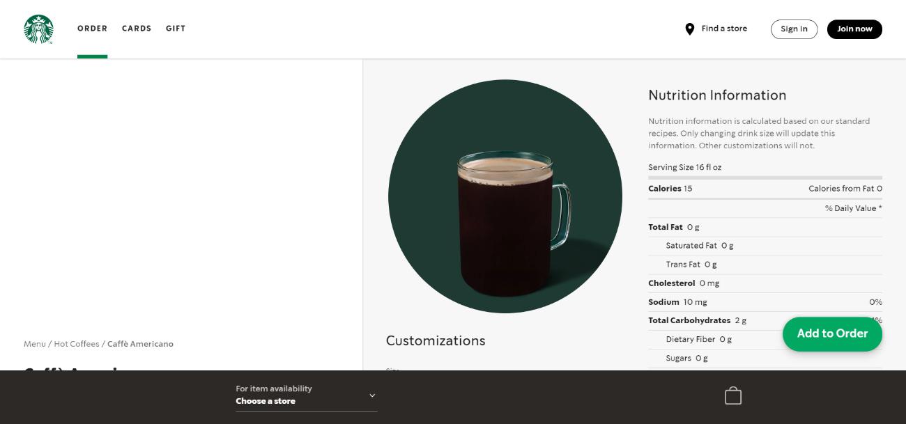De PWA van Starbucks, ook toegankelijk via desktop