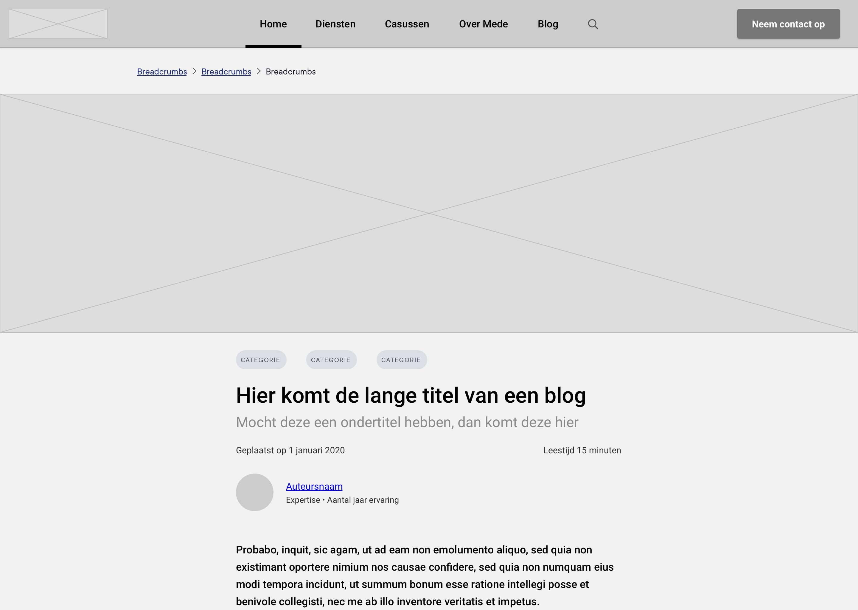 Een wireframe van een blog detailpagina