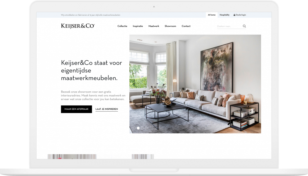 Afbeelding voor Een impuls van sfeer en inspiratie op de website van interieurbedrijf Keijser&Co