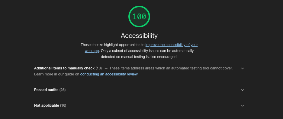 Printscreen van Google's Lighthouse accessibility check