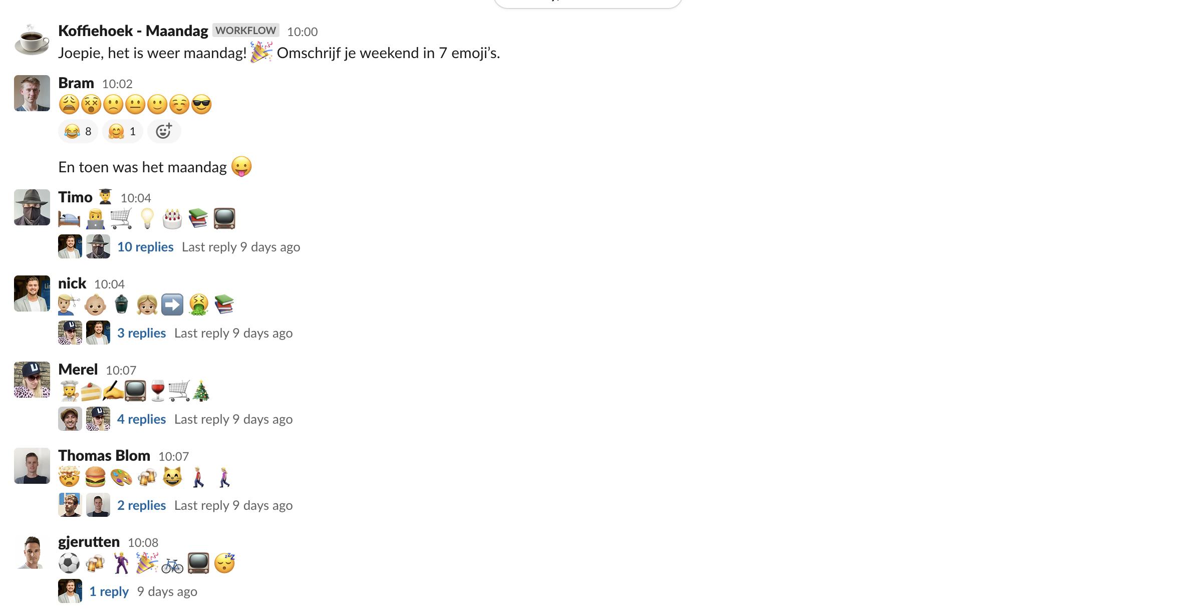 Een screenshot van onze Slackgeschiedenis
