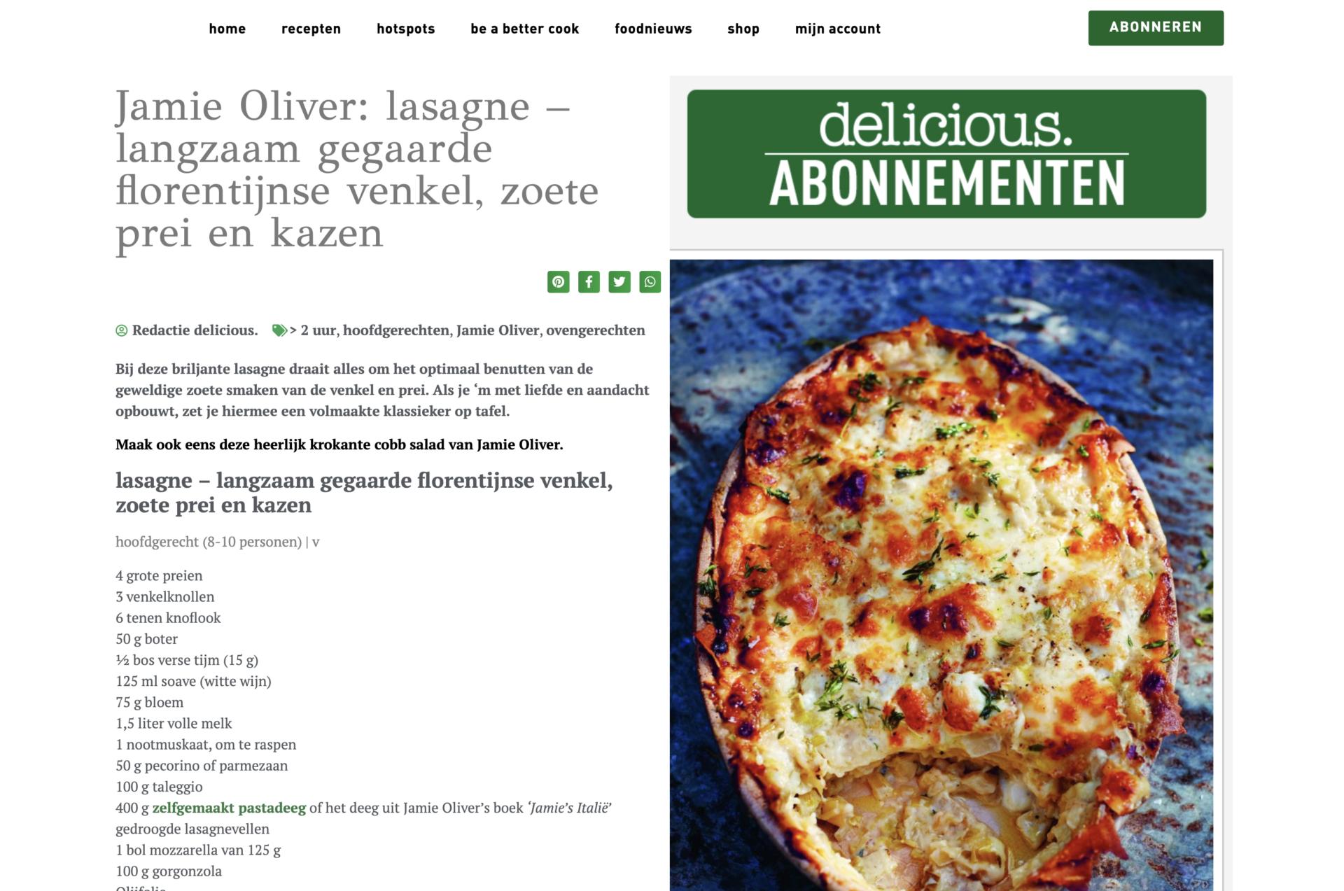 Een screenshot van een recept op de website van het magazine delicious.