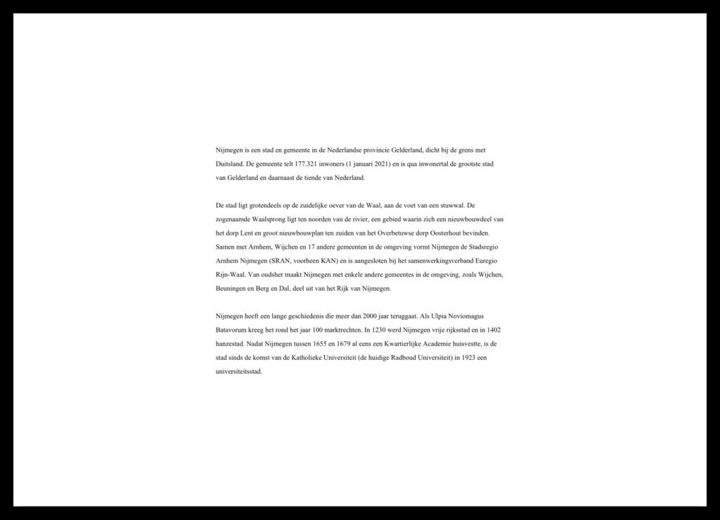 Typografie voorbeeld. Tekst in Times New Roman, 12pt, dubbele regelafstand.
