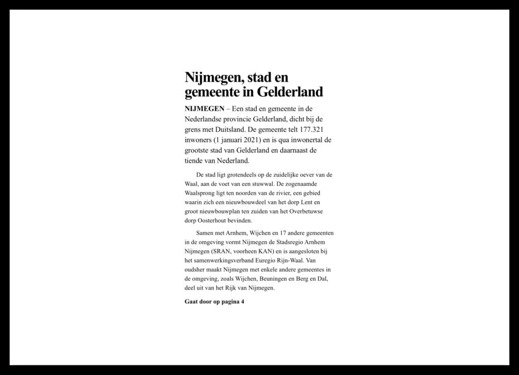 Typografie voorbeeld. Tekst als krantenartikel.